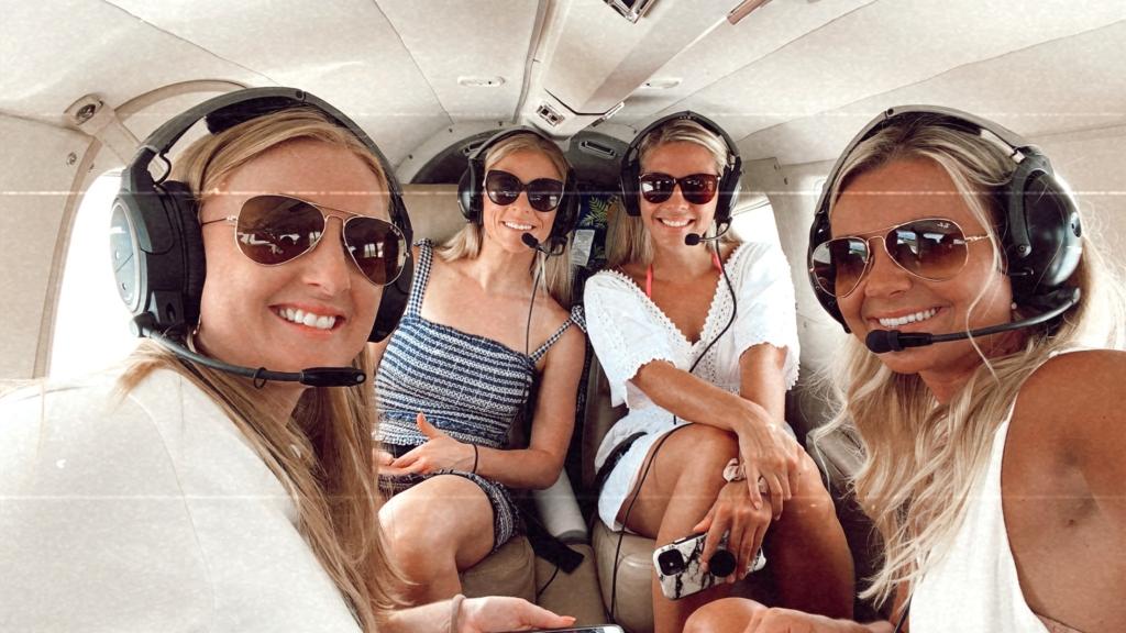 girlfriends in a plane